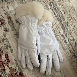 Ugg White Faux Fur Gloves
